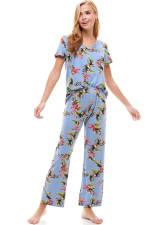 Loungewear Set For Women's Pajama Short Sleeve And Pants Set - 3