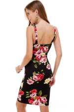 Floral Plunge Neck Fitted Dress - 5