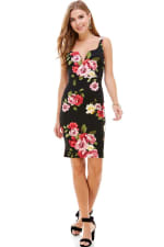 Floral Plunge Neck Fitted Dress - 4