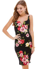 Floral Plunge Neck Fitted Dress - 6