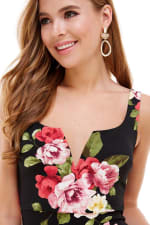 Floral Plunge Neck Fitted Dress - 3