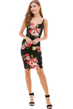 Floral Plunge Neck Fitted Dress - 1