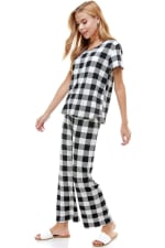 Women's Loungewear Set Checker Printed Pajama Short Sleeve And Pants Set - 4