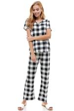 Women's Loungewear Set Checker Printed Pajama Short Sleeve And Pants Set - 3