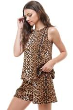 Animal Printed Sleeveless Top and Short Loungewear Set - 5