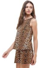 Animal Printed Sleeveless Top and Short Loungewear Set - 4