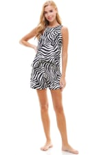 Animal Printed Sleeveless Top and Short Loungewear Set - Zebra - Front