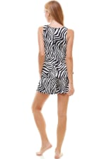 Animal Printed Sleeveless Top and Short Loungewear Set - Zebra - Back