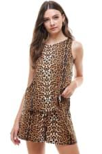 Animal Printed Sleeveless Top and Short Loungewear Set - 1