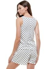 Loungewear Set Polka Dots Pajama - Ivory - Back