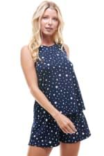 Star Printed Sleeveless Top and Short Loungewear Set - 3