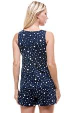 Star Printed Sleeveless Top and Short Loungewear Set - 2