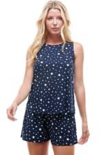 Star Printed Sleeveless Top and Short Loungewear Set - 1