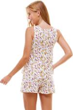 Ditsy Printed Sleeveless Top And Short Loungewear Set - 7
