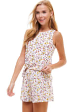Ditsy Printed Sleeveless Top And Short Loungewear Set - 6