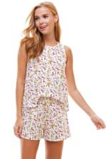 Ditsy Printed Sleeveless Top And Short Loungewear Set - 4