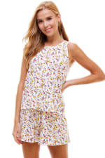 Ditsy Printed Sleeveless Top And Short Loungewear Set - 8