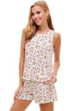Ditsy Printed Sleeveless Top And Short Loungewear Set - 3