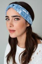 Tie Dye and Paisley Print Denim Chunky Headwrap - 2