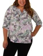 Slubbed Roll Tab sleeve blouse - Plus - 1