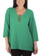 3/4 Sleeve Ribbed Top With 3 Ring Detail - Petite - 4