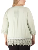 3/4 Sleeve Cardigan With Crochet Detail - Plus - 2