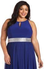 Maxi Dress with  Embellished Waist Band and Keyhole Cutout-Plus - 6