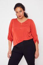 Roz & Ali Zip Front Knit Top - Plus - 39