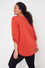 Roz & Ali Zip Front Knit Top - Plus - 40