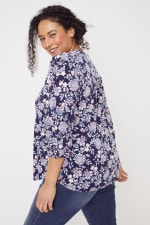 Roz & Ali Jacobean Floral Pintuck Popover - Plus - Navy - Back