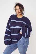 Westport Cozy Stripe Pullover Sweater - Plus - 8