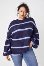 Westport Cozy Stripe Pullover Sweater - Plus - 3