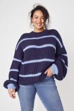 Westport Cozy Stripe Pullover Sweater - Plus - 6