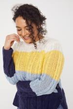 Colorblock Curved Hem Sweater - Plus - 5