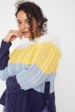 Colorblock Curved Hem Sweater - Plus - 4