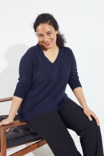 Roz & Ali Pointelle Hi/Lo Tunic Sweater - Plus - 1