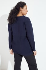Roz & Ali Pointelle Hi/Lo Tunic Sweater - Plus - Navy - Back