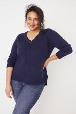 Roz & Ali Crochet Tunic Sweater - Plus - 12