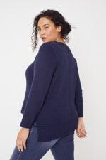 Roz & Ali Crochet Tunic Sweater - Plus - 14