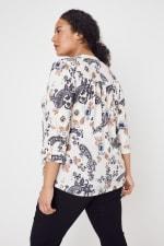 Roz & Ali Floral Jacquard Pintuck Popover - Plus - Taupe/Black - Back