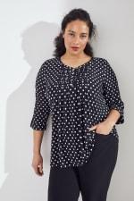 Roz & Ali Jacquard Dot Knit Popover - Plus - Black/Ivory - Front