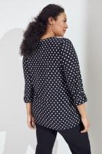 Roz & Ali Jacquard Dot Knit Popover - Plus - Black/Ivory - Back