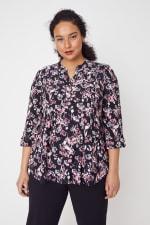 Roz & Ali Floral Jacquard Popover Tunic - Plus - Black Multi - Front