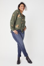 Olive Embroidered Button Front Woven Blouse- Plus - 3