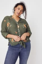 Olive Embroidered Button Front Woven Blouse- Plus - 5