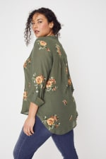 Olive Embroidered Button Front Woven Blouse- Plus - 8