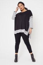 Roz & Ali Colorblock Stripe Poncho - Plus - 6