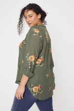 Olive Embroidered Button Front Woven Blouse- Plus - 2