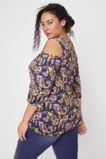 Roz & Ali Floral Paisley Cold Shoulder Knit Top - Plus - Multi - Back