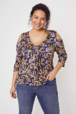 Roz & Ali Floral Paisley Cold Shoulder Knit Top - Plus - Multi - Front
